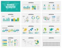 La presentazione fa scorrere il modello di vettore di affari con le mappe Fotografie Stock