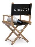 La presidenza del regista con un megafono indietro osserva Immagine Stock