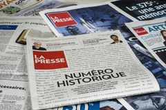 La Presse publishes final print edition. After 133 years, La Presse publishes final print edition. The French-language newspaper will continue to publish content stock photo