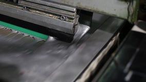 La presse typographique industrielle en gros plan met la peinture argentée sur la toile clips vidéos