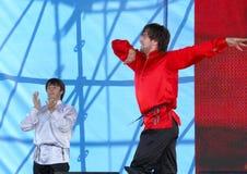 La prestazione dei solista-ballerini del imamat dell'insieme (Dagestan solare) Immagini Stock