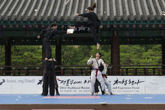La prestazione di arte marziale e l'evento coreani tradizionali di esperienza mostrano Immagine Stock Libera da Diritti