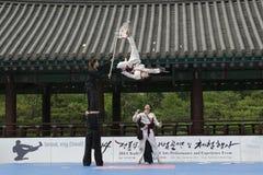 La prestazione di arte marziale e l'evento coreani tradizionali di esperienza mostrano Immagine Stock