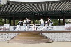 La prestazione di arte marziale e l'evento coreani tradizionali di esperienza mostrano Fotografia Stock Libera da Diritti