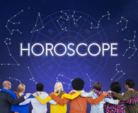 La previsione futura del calendario astrale dell'oroscopo firma il concetto illustrazione di stock