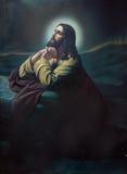 La prière de Jésus dans le jardin de Gethsemane Image imprimée cahtolic typique de la fin de 19 cent Photo stock