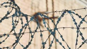 La prigione del recinto ha chiuso il filo spinato rigoroso della siluetta di regime di area recinto di immigrazione clandestina d archivi video