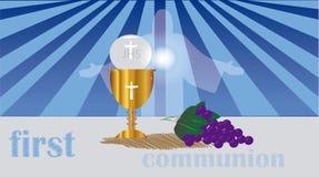 La prima comunione, o prima comunione santa Immagini Stock Libere da Diritti