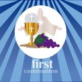 La prima comunione, o prima comunione santa Immagini Stock