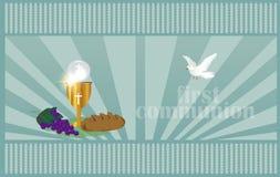 La prima comunione, o prima comunione santa Fotografia Stock Libera da Diritti