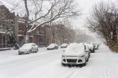 La prima tempesta della neve della stagione colpisce Montreal, Canada Immagine Stock Libera da Diritti