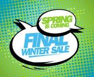 La primavera è progettazione finale venente di vendita dell'inverno. Immagini Stock