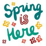 La primavera è qui illustrazione disegnata a mano con l'iscrizione dei fiori con lettere illustrazione vettoriale