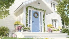 La primavera adornó el pórtico con muchas flores representación 3d stock de ilustración