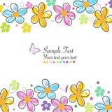 La primavera colorida del garabato florece la tarjeta de felicitación del marco Imagenes de archivo