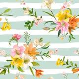 La primavera d'annata fiorisce il fondo - Lily Pattern floreale senza cuciture Fotografia Stock