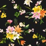 La primavera d'annata fiorisce il fondo - Lily Pattern floreale senza cuciture Immagine Stock