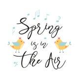 La primavera del texto del vector de la primavera de la cita de la tipografía está en la mano adornada aire que los pájaros amari libre illustration