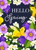 La primavera del vector hola florece la tarjeta de felicitación Fotografía de archivo libre de regalías