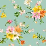 La primavera del vintage florece el fondo - Lily Pattern floral inconsútil Imagenes de archivo