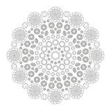 La primavera divertida de la mandala circular del modelo florece blanco y negro - fondo floral Imagen de archivo libre de regalías