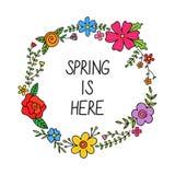 La primavera está aquí, vector floral de la guirnalda de la primavera Imagenes de archivo