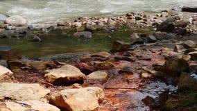 La primavera mineral fluye en el río de la montaña almacen de video