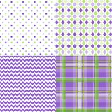 La primavera modela púrpura del verde de la tela escocesa de Chevron foto de archivo libre de regalías