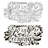 La primavera monocromática dibujada mano de las letras está viniendo, los remolinos, flores Imagen de archivo libre de regalías