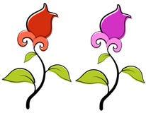 La primavera roja y púrpura florece el clip art foto de archivo