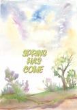 La primavera tiene tarjeta venida del vector Pintura de la acuarela con las letras Imagen de archivo
