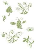 La primavera verde fijó con la abeja, la mosca y las hojas Fotos de archivo libres de regalías