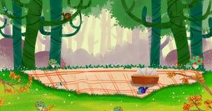 La primavera viene, un buon posto per il picnic nella piccola foresta verde royalty illustrazione gratis