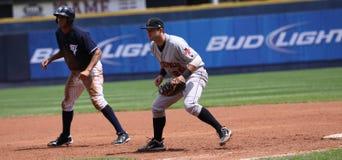 Primera base Matt La Haya de los indios de Indianapolis imágenes de archivo libres de regalías