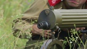 La primera guerra mundial Los húsares tiran de una ametralladora HD almacen de video