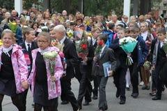 La primera llamada 1 de septiembre, día del conocimiento en la escuela rusa Día de conocimiento Primer día de escuela Imagen de archivo libre de regalías