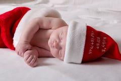 La primera Navidad del bebé Imágenes de archivo libres de regalías
