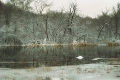 La primera nieve en la región de Khoper Saratov del río Imagenes de archivo