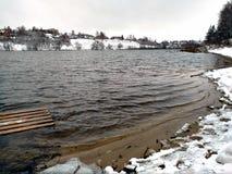 La primera nieve y agua en Venev Imagen de archivo libre de regalías