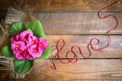 La primevère fleurit sur un plancher en bois avec amour d'inscription Photo libre de droits
