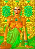 La princesa egipcia en oro y el verde esmeralda con los cosméticos hermosos de la moda, componen y la corona del oro fotos de archivo libres de regalías