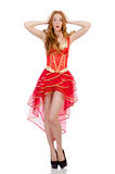 La princesa en el vestido rojo aislado en blanco Imagen de archivo libre de regalías