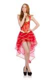 La princesa en el vestido rojo aislado en blanco Foto de archivo libre de regalías