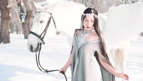 La princesa oscura magnífica encantadora en un bosque fabuloso del invierno con Pegaso blanco, un modelo valiente presenta para l almacen de video