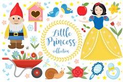 La princesse mignonne de conte de fées neigent les objets réglés blancs Élément de conception de collection avec une petite jolie image stock