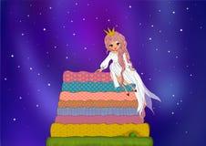 La principessa ed il pisello nel fondo del cielo notturno illustrazione di stock