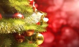 La priorità bassa con un albero di Natale e la festa si illuminano Fotografia Stock