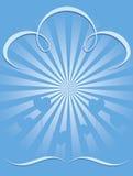 La priorità bassa di burst dell'azzurro con cuore balloons il cmyk Immagini Stock Libere da Diritti
