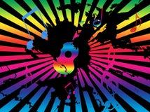 La priorità bassa di Grunge con la chitarra, le note, Rainbow rays Fotografia Stock Libera da Diritti