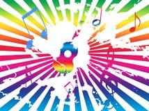 La priorità bassa di Grunge con la chitarra, le note, Rainbow rays Fotografie Stock Libere da Diritti